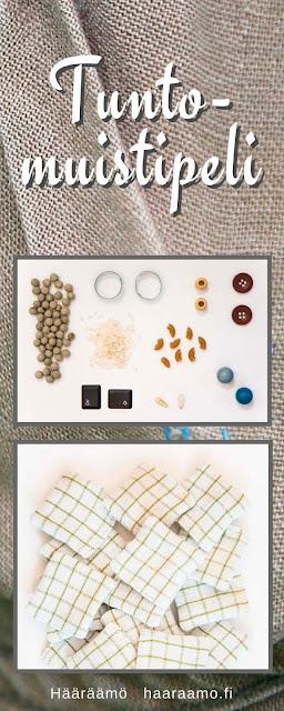 Tuntomuistipeli kierrätysmateriaaleista
