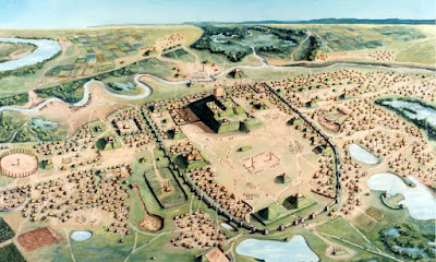 Cahokia Mounds Aerial Illustration