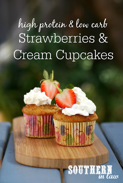 Healthy High Protein Strawberries & Cream Cupcakes Recipe  healthy strawberry shortcake cupcakes, low fat, gluten free, high protein, low carb, refined sugar free, clean eating friendly