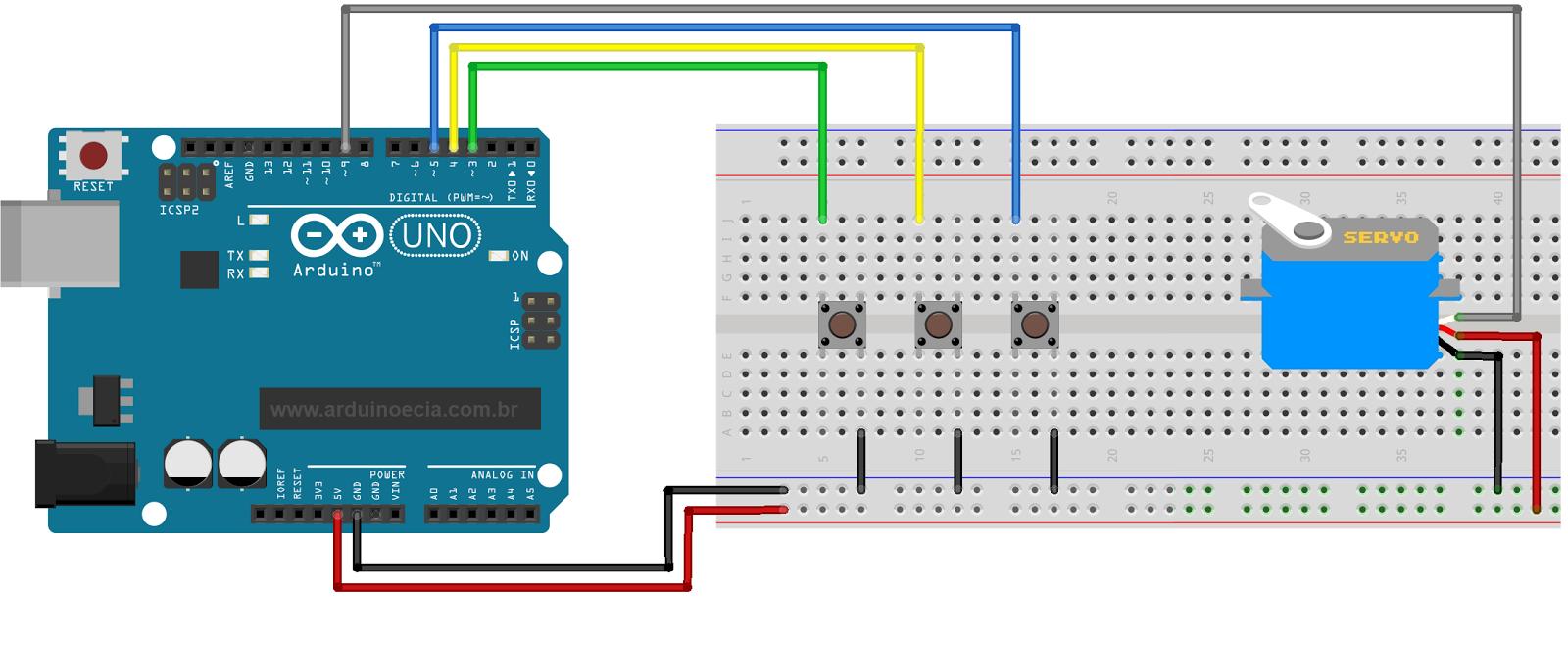 Circuito Arduino - Servo motor - Push button