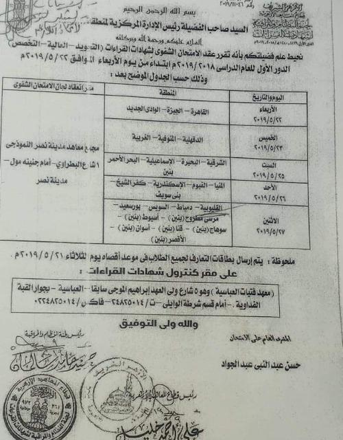 مواعيد امتحان الشفوي لشهادات معاهد القراءات 2019 قطاع المعاهد الازهرية