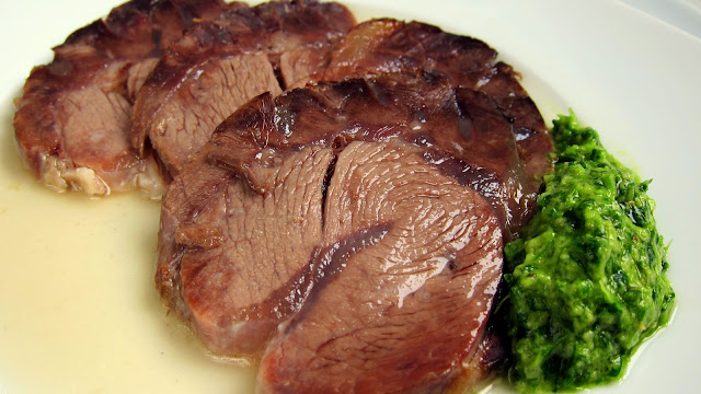 Italian Boiled Beef Roast with Rustic Green Sauce - pressure cooker recipe