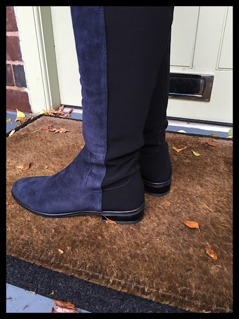 My Midlife Fashion Clarks Caddy Belle Navy Suede Boots