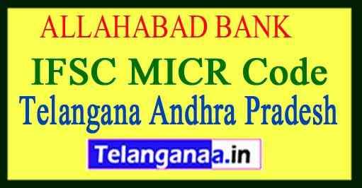 ALLAHABAD BANK IFSC MICR Code Telangana Andhra Pradesh
