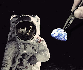 image of moon astronaut with a hand positioning an earth sticker over it.