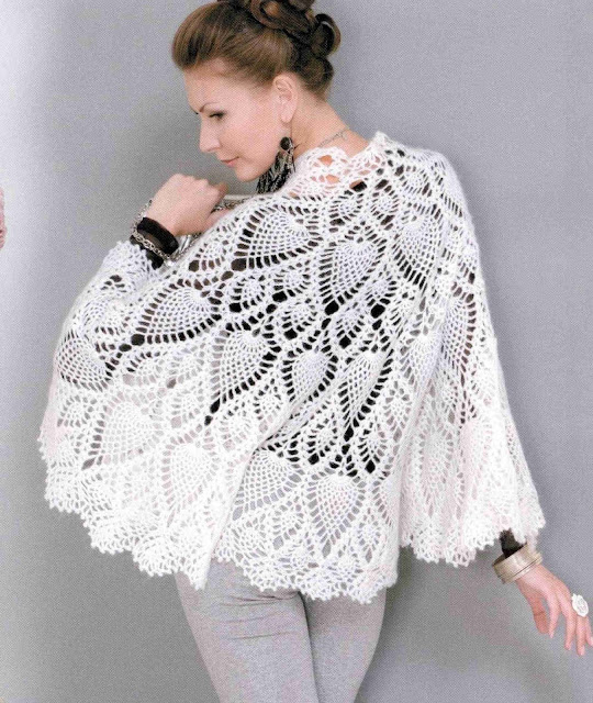 Patrón #1356: Poncho a Crochet