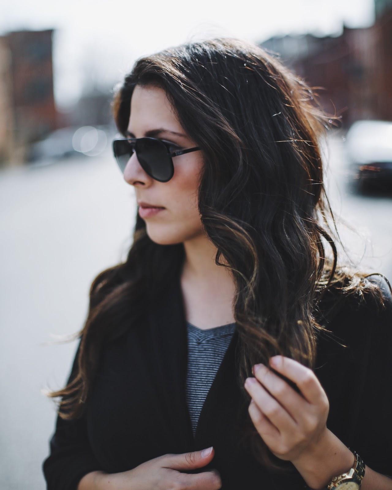 black aviator rayon sunglasses