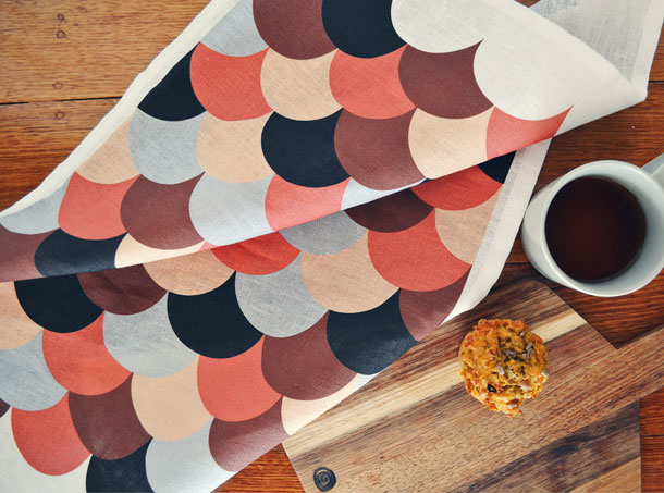 Scallop  Print Kitchen Tea Towel by little miss gee