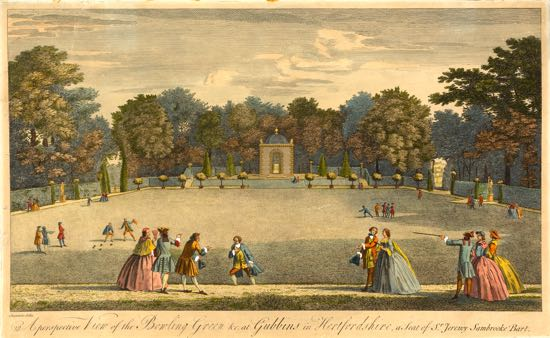Etching of The Bowling Green at Gubbins 1748.  (courtesy of Yale Center for British Art, Paul Mellon Collection)