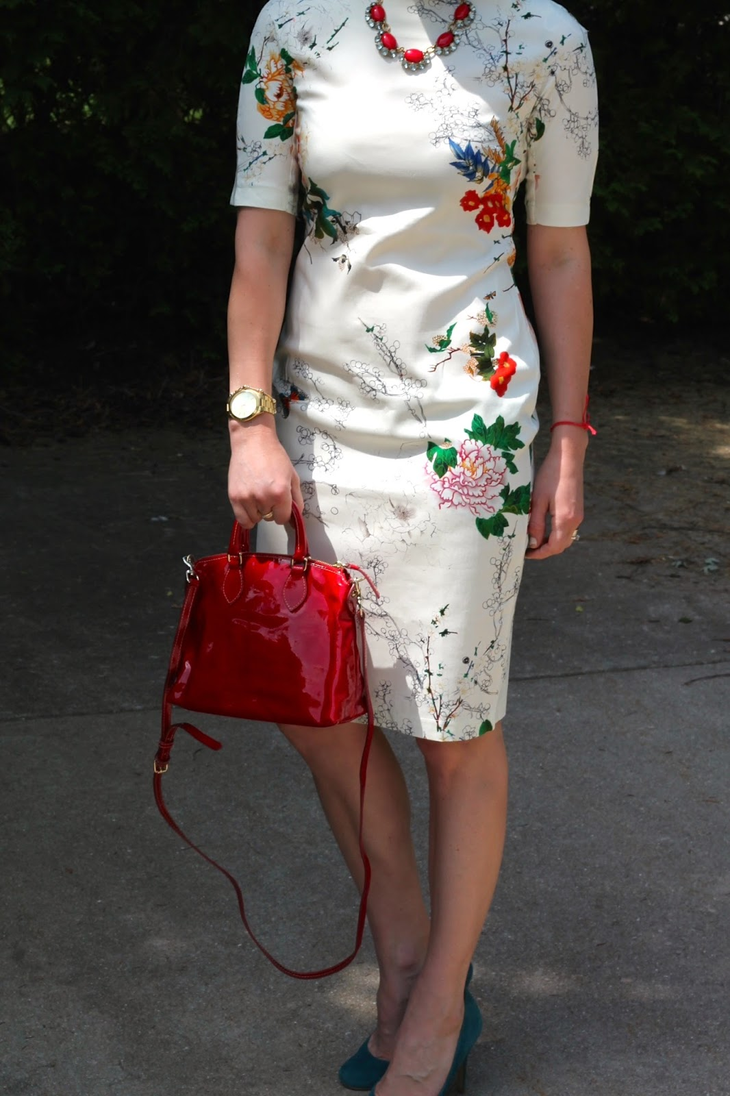 d47a38a0bf white floral sheath, turquoise teal heels, red Dooney and Burke bag, red  Stella