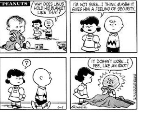 Image result for 1954 - In the Peanuts comic strip, Linus' security blanket made its debut.