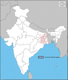 Fig:1: Nor'wester  Effected Zone of India