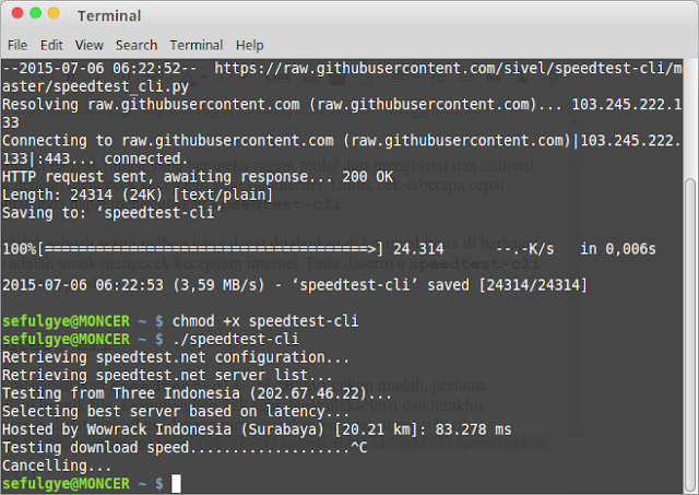 Cara mengetest speed test linux shell Terminal. Speed test Ubuntu Linux Mint dengan speedtest.net linux command line Terminal Linux ini dapat digunakan untuk linux test upload speed. Dengan menggunakan speedtest.net command line Linux, curl speed test, network speed test linux command line dapat dijalankan melalui linux speed test script