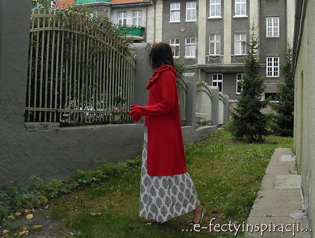 czerwony t-shirt, bluzka z krókim rękawem, jak uszyć, czerwona dzianina, spódnica atmosphere, sweter per una, e-fectyinspiracji