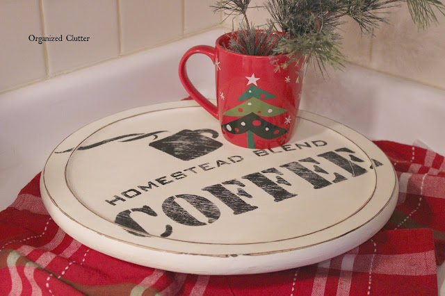 Lazy Susan Upcycled with Old Sign Stencils
