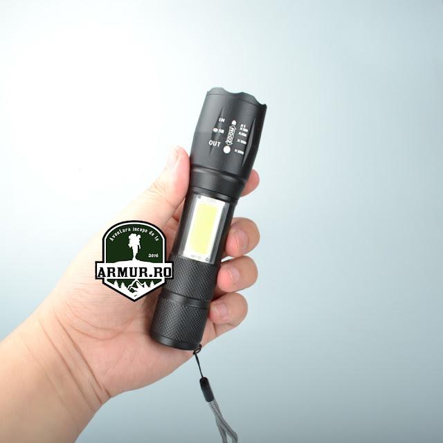 Lanterna Q5 Tactica incarcare USB Zoom Incarcare USB - acumulator 18650 incorporat