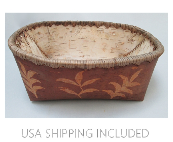 Native Alaskan Art Athabascan Birch Bark Folded Basket