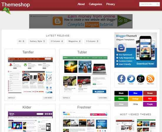 Themeshop Clean, Responsive design For Online Store, Magazine blog etc Ads ready Seo Ready Portfolio Brown, White color Masonry Right Sidebar Gallery style Free Premium template 2 Columns layout 3 Columns Footer Blogger Template Free Download
