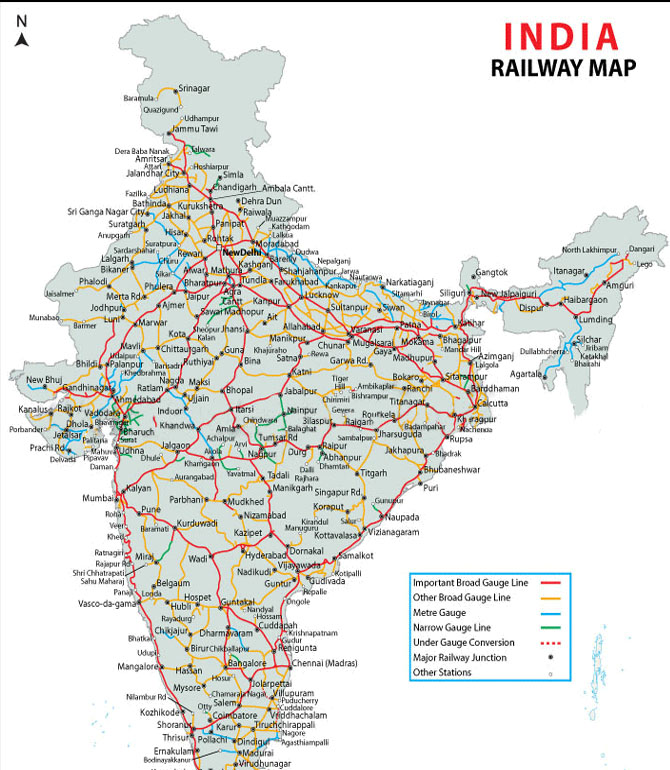 Indian Railway Map Of India.Rail Map India India Railways Map