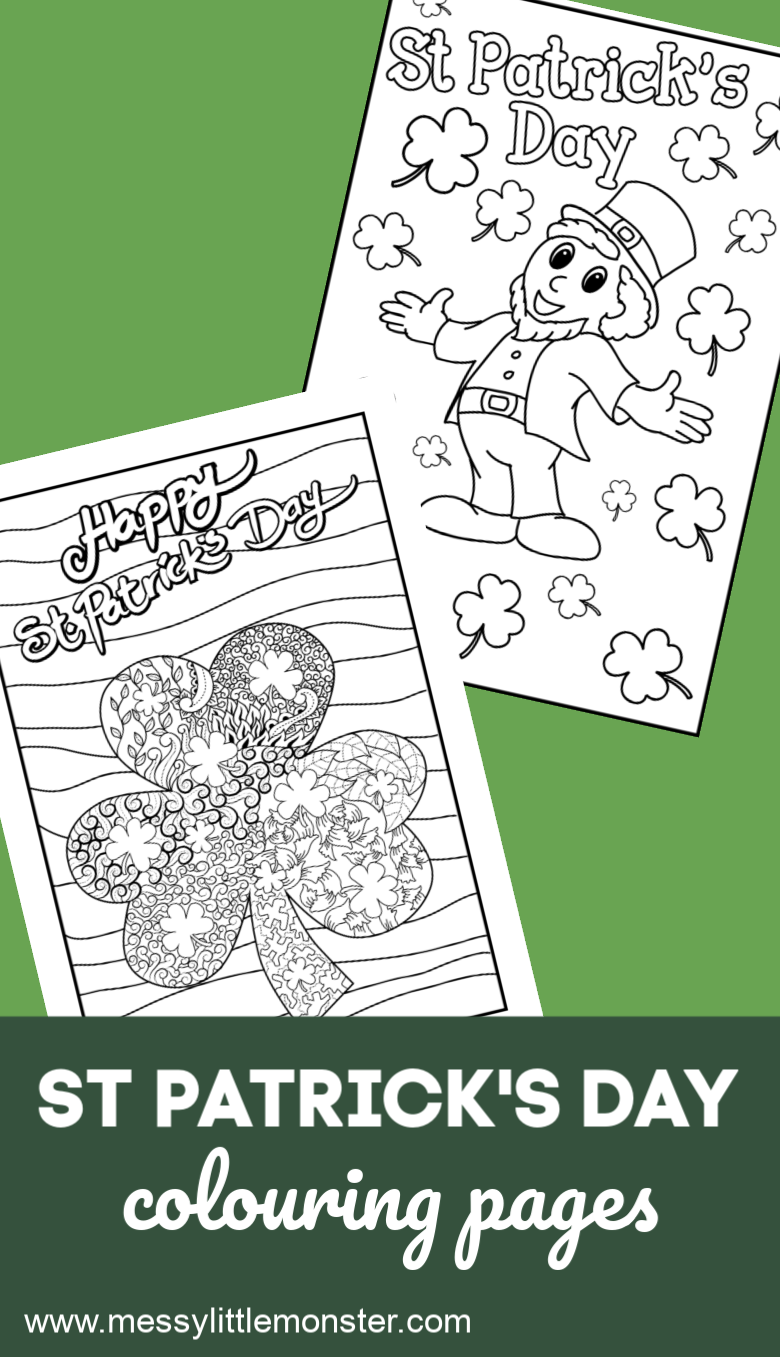 St Patricks Day Colouring Pages Messy Little Monster