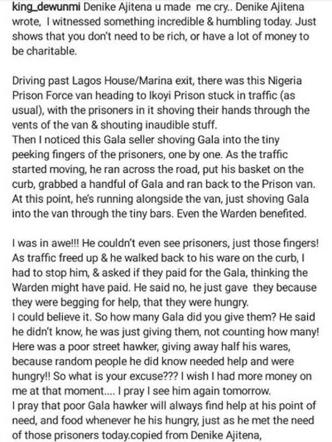 See what a Gala seller did when he saw prisoners stuck in traffic in a Van in Lagos