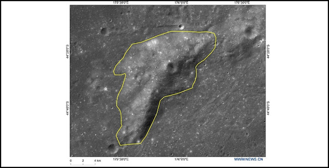 "Photo provided by the China National Space Administration (CNSA) shows the image of Mons Tai, a hill near ""Statio Tianhe"", the landing site of China's Chang'e-4 lunar probe. Credit: Xinhua/CNSA"