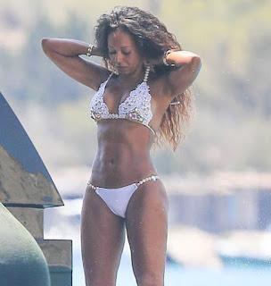 Mel B wears white bikini on Ibiza holiday.