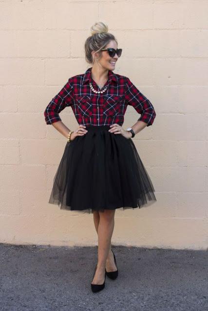 tulle skirt negra