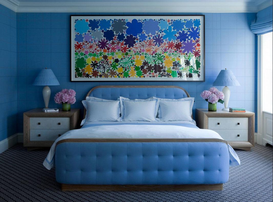 Blaue Schlafzimmer Kleine Design Mit Wunderschöne Wandgestaltung