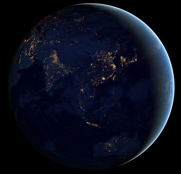 Night Time Photo of Asia From Space