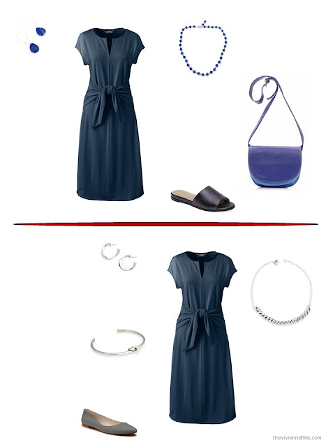 two ways to style a navy dress for summer