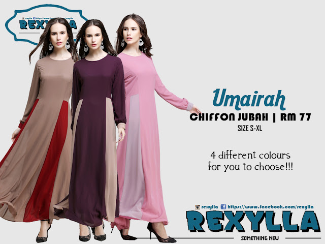 rexylla, joint colour, chiffon jubah, umairah collection