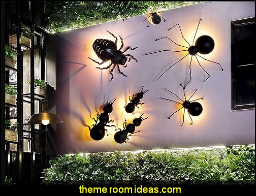 Spider Beetle ant  wall lamps  outdoor theme bedroom ideas - camping theme bedroom decor  - backyard themed kids rooms  - bugs and critters theme bedrooms - Happy Camper little boys outdoor theme bedroom - tree wall decal - dog wall decal stickers - treehouse bed  treehouse theme bedrooms - camping room decor - camping theme room - Boy Scout Camp mural - backyard garden camping bedroom ideas - nature inspired bedding - nature wallpaper murals - plush critter toys  Backyard Camp out theme bedroom ideas