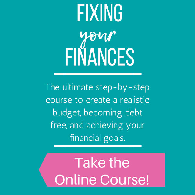 Fixing Your Finances online course for creating a budget, becoming debt free, and building a savings fund