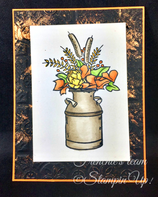 Card, Country Home, Copper Shimmer Paint, Tin Tyle Embossing Folder