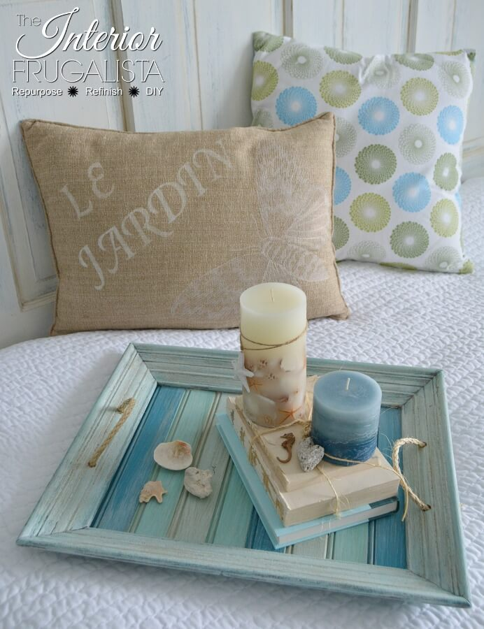 Coastal Picture Frame Serving Tray Drybrushed Paint Layers