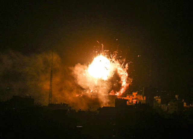 The airstrike on Al-Aqsa TV station tonight in Gaza