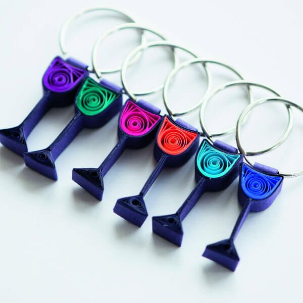 colorful wine glass quilled wine charms