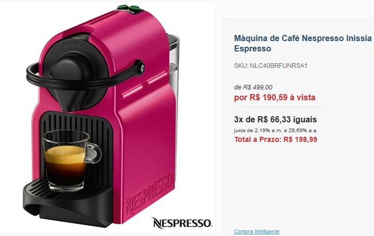 Máquina de Café Nespresso Inissia Fuchsia Velvet para Café Espresso