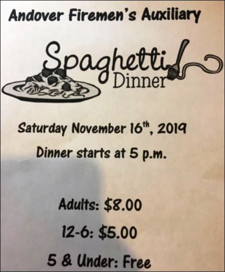 11-16 Spaghetti Dinner, Andover FiremAux.