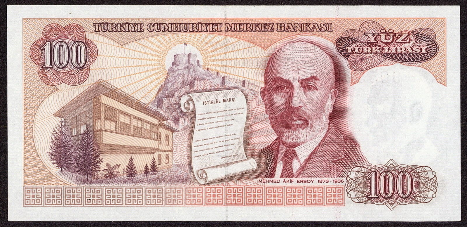 "Turkey currency money 100 Turkish Lira ""Türk Lirasi"" note, Mehmet Akif Ersoy"