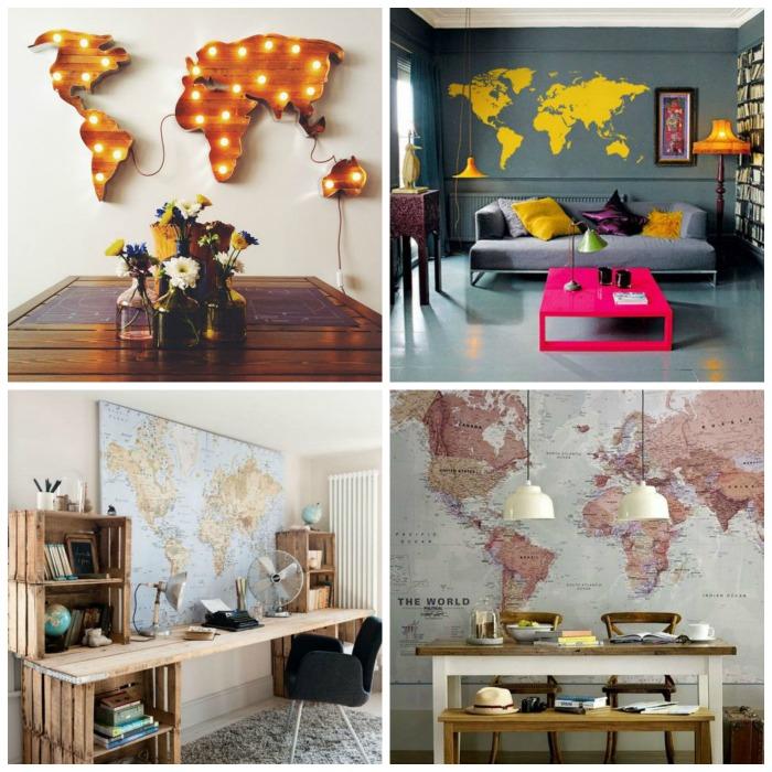 Decoração com mapa do mundo + de 15 formas diferentes