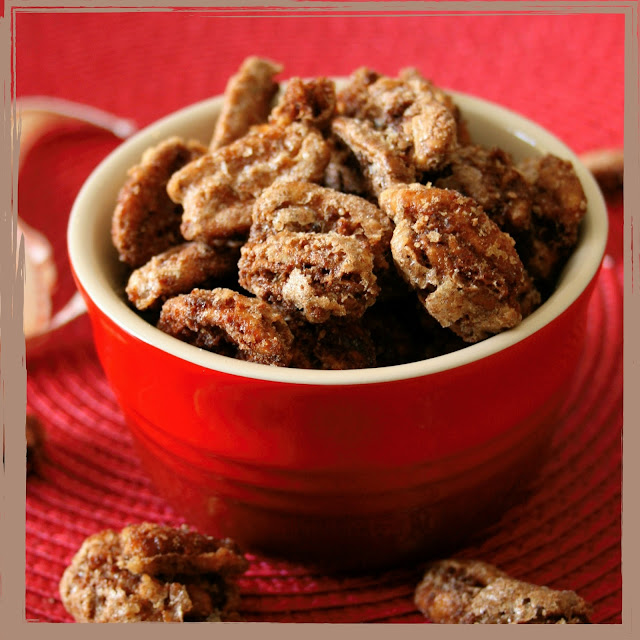 Spiced caramelised pecan nuts.