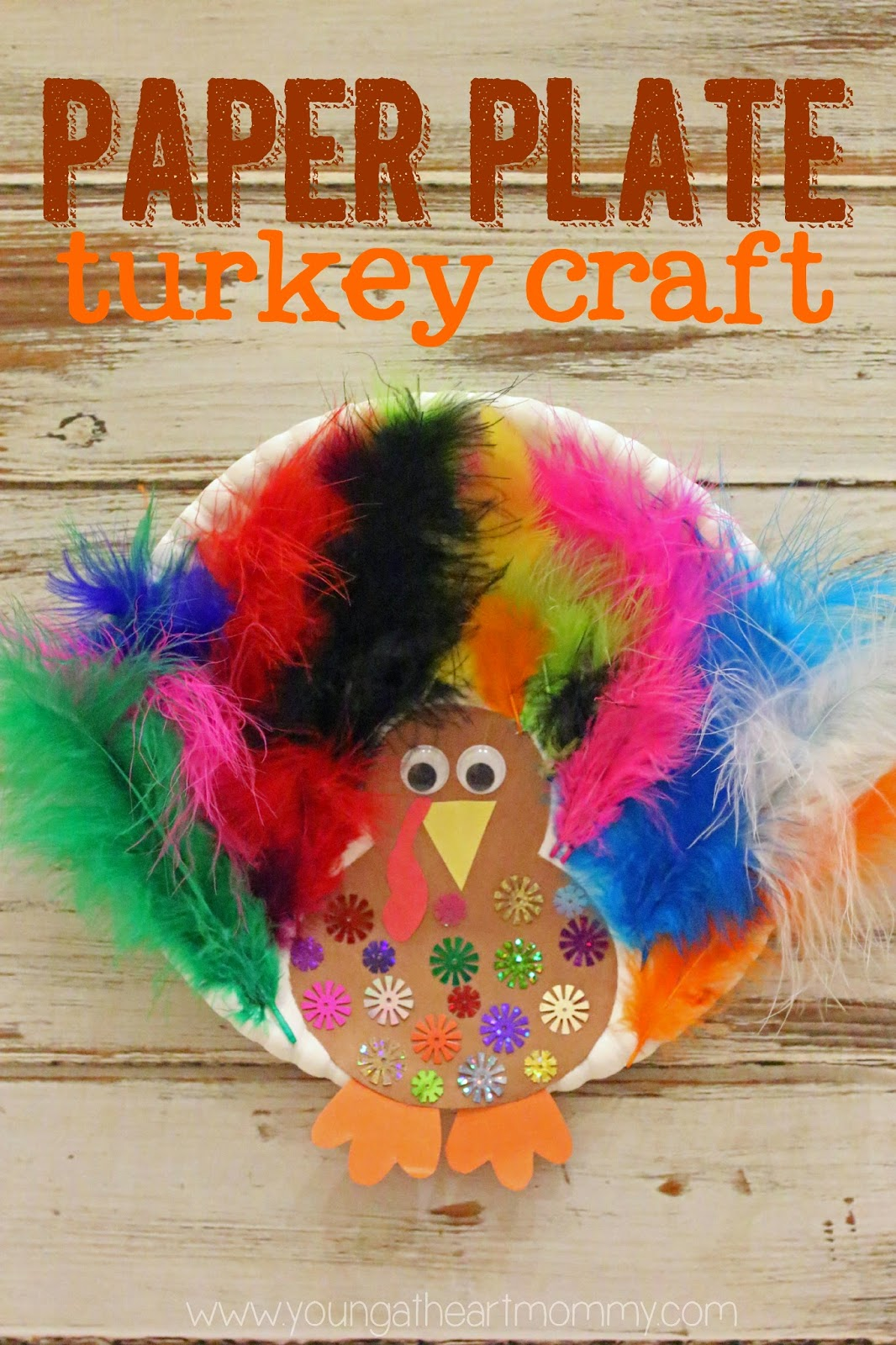 Young At Heart Mommy Paper Plate Feathered Turkey Craft