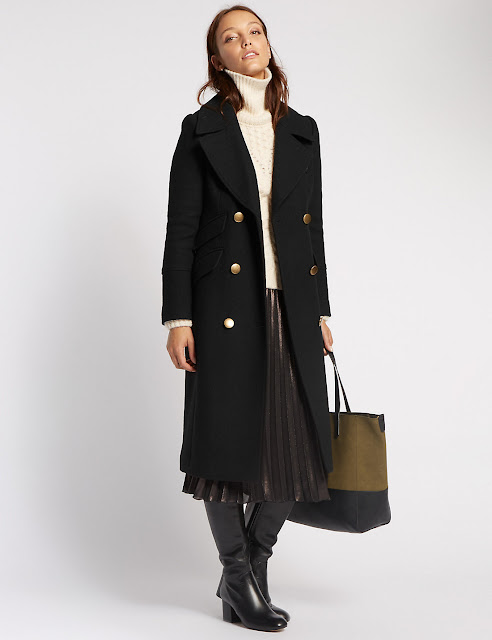 Marks and spencer tailored fit military long coat