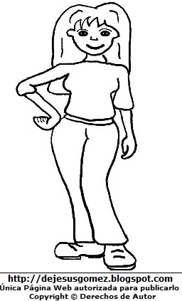 Dibujo de una joven mujer adolescente para colorear pintar imprimir. Dibujo de una joven de Jesus Gómez
