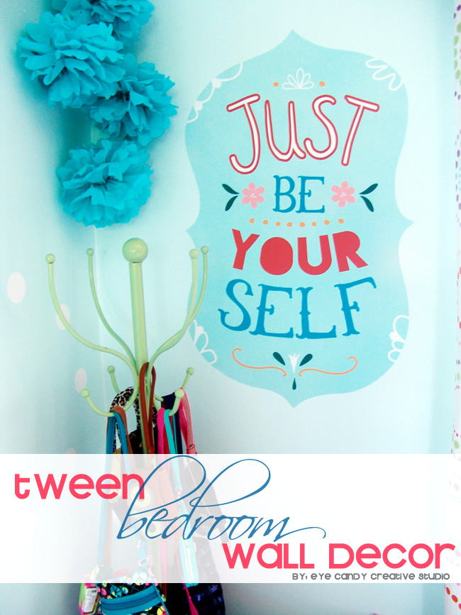 wallternatives vinyl decal, girls bedroom decor, be yourself, aqua & pink