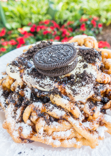 Cookies and Cream Funnel Cake from the Funnel Cake Stand in America - Epcot Walt Disney World