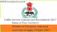 Telangana Public Service Commission Recruitment 2017– 546 Lecturer