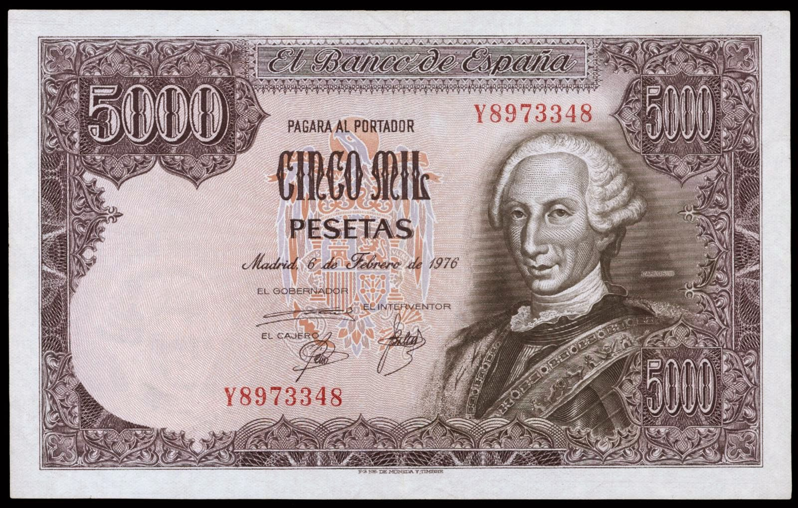 Spain banknotes 5000 Pesetas note 1976 King Carlos III